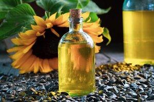 Bottle of fresh sunflower oil, seeds