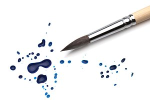 brush and ink drops