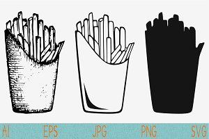 french fries svg set vector png eps