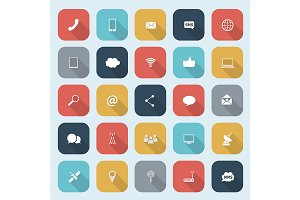 Trendy communication icons set