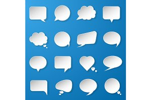 Paper speech bubbles set