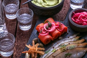 Close view of cured salmon with