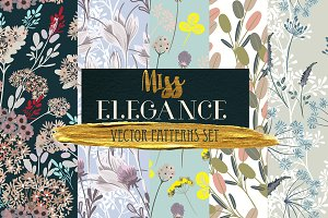 Flora vector seamless patterns