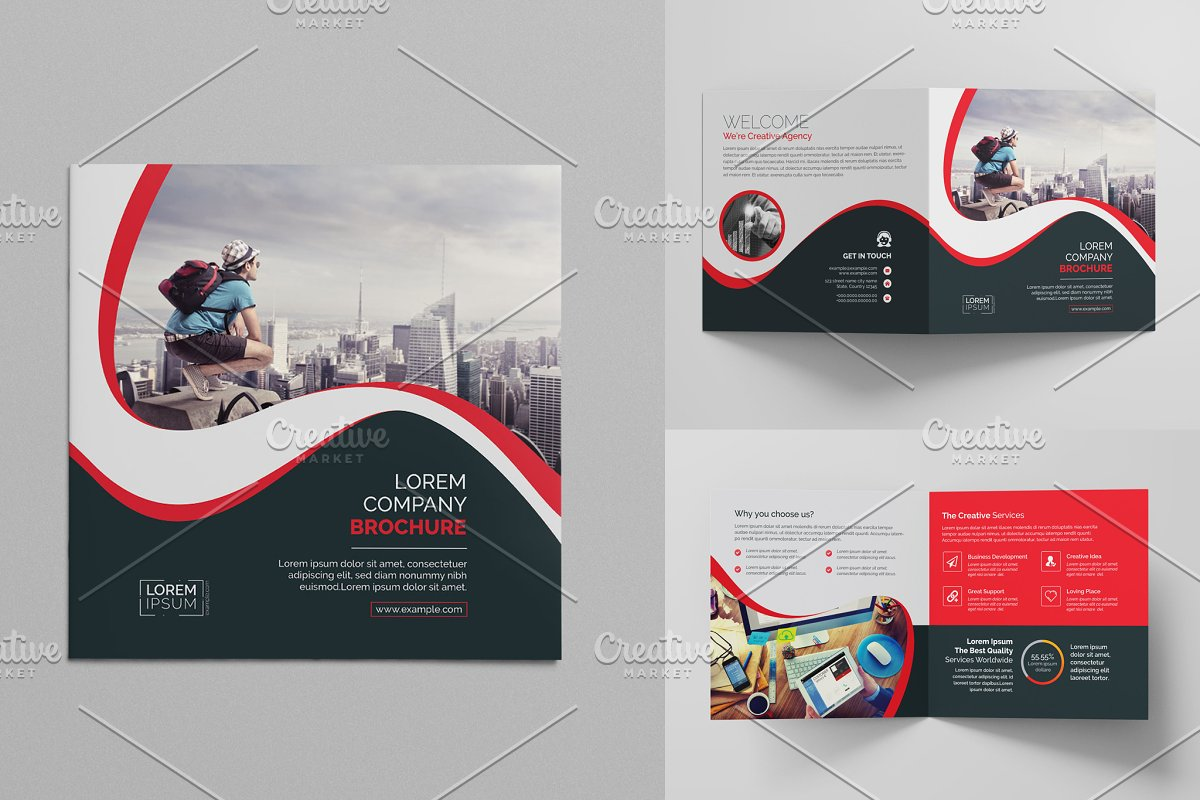 Red Square Bi-Fold Brochure ~ Brochure Templates ~ Creative