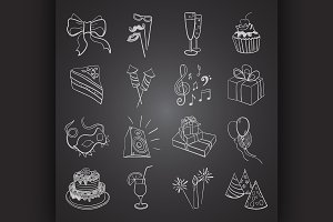 hand-drawn party icon set
