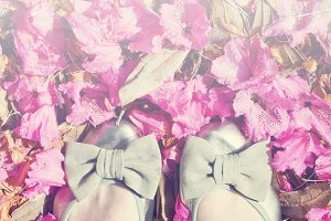 Pretty Shoes with Bows Stock Photo