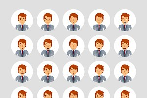 Man in suit emoticons set