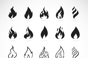 Vector set of flame symbols. Icon.