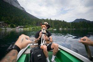 Traveller man with best friend dog