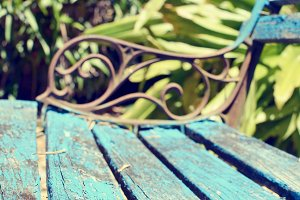 Wooden Park Bench Stock Photo