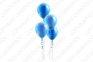 Blue Party Balloons Graphic