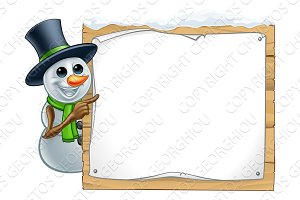 Snowman Christmas Cartoon Sign
