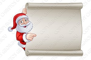Christmas Santa Claus Cartoon Sign