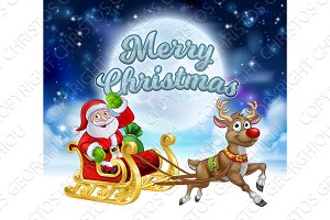 Merry Christmas Santa Sleigh Cartoon