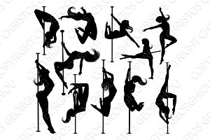 Pole Dancing Women Silhouettes Set