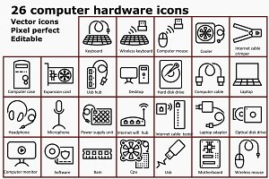 Outline computer hardware icons