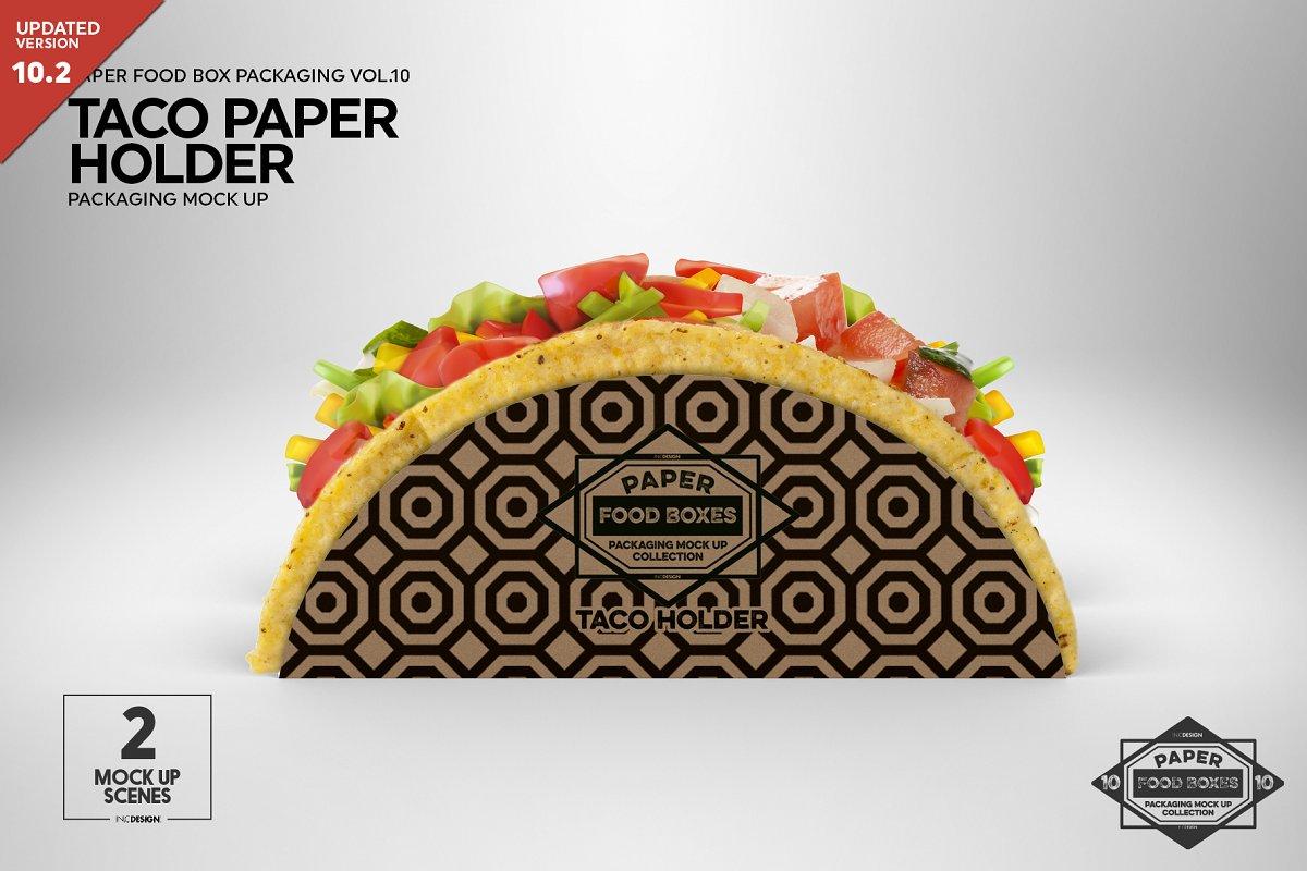 Paper Taco Holder Packaging Mockup