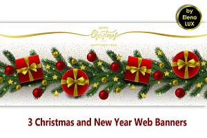 Winter Holiday Web Banners Set