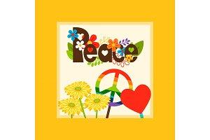 Hippie style peace symbol card