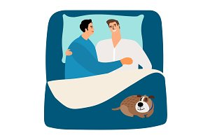 Two men and dog in bed