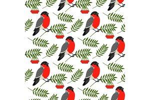Bullfinch and rowan berries pattern