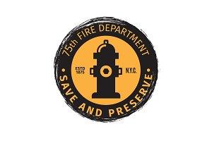 Fire department grunge label