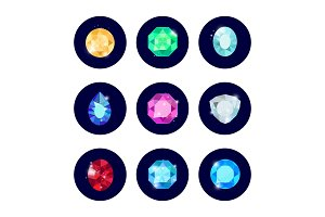 Shine diamond icons set