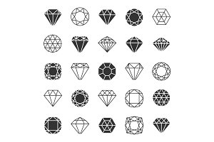 Diamond line icons set