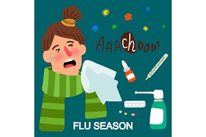 Girl and medicines, flue season