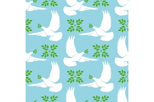 White dove seamless pattern