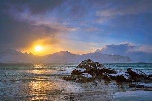 Skagsanden beach on sunset, Lofoten