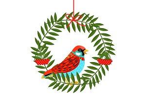 Bird with rowan berries wreath