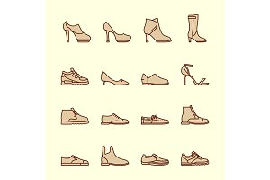 Women shoes line icons