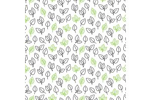 Line leaves seamless pattern