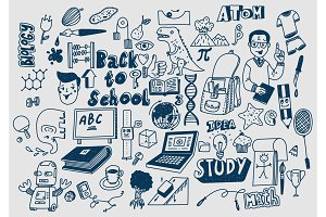 Hand drawn scketchy school supplies
