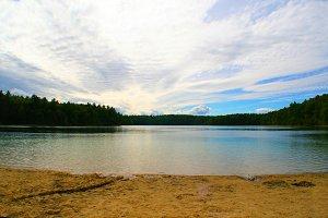 Still lake with beach