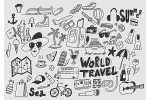 Hand draw doodle travel symbols