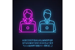 Coworking neon light icon