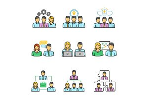 Teamwork color icons set