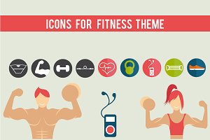 Icons for fitness theme
