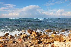 Stony coast Mediterranean sea
