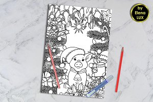 Winter Holiday Coloring Page with