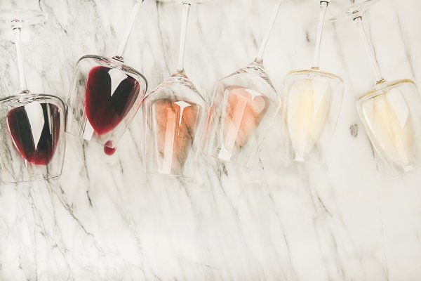 Red, rose, white wine in glasses an…