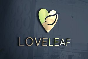 Love Leaf Logo Template