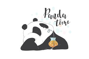Happy panda drinks coctail