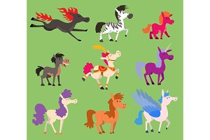 Fantasy color vector small horse