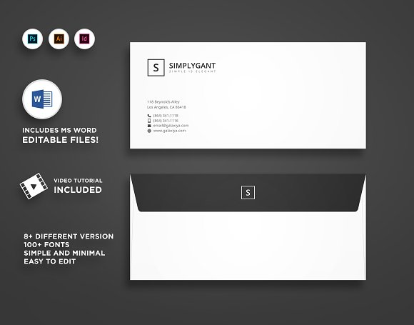 simple minimal envelope designs stationery templates creative market