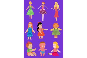 Baby cartoon dolls toy Vector