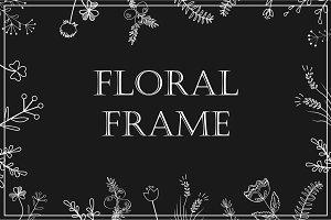 Stylish floral frame, white on black