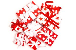 Gift boxes white background Holidays